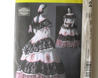 Civil War Victorian Dress Costume Pattern McCalls M4744 Womens Historical Ball Gown Evening Dress Sewing Pattern Sz 6-12 Bust 30.5-34 UNCUT