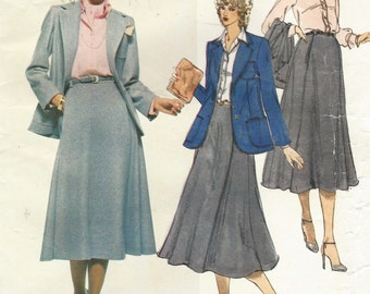 1970s Anne Klein Womens Retro Jacket, Skirt, Shirt & Scarf Vogue Sewing Pattern 1947 Size 12 Bust 34 UnCut Vintage American Designer Vogue