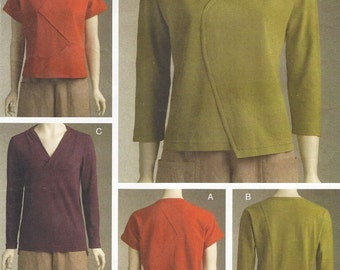 Marcy Tilton Womens Pullover Tops Hemline, Neckline & Sleeve Variations OOP Vogue Sewing Pattern V8497 Size 6 8 10 12 Bust 32 1/2 to 34