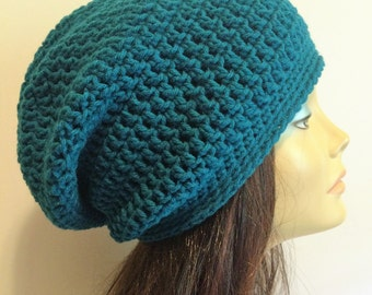 Slouchy Beanie Teal Hat - Crochet Slouch Beanie Womens Beanie Hipster Hat -  Slouchy Beanie - Fall Apparel - Vegan Hat