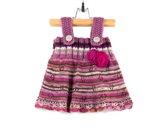Knitted Baby Dress - Purple and Pink, 6 - 9 months