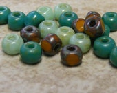 Turquoise and Mustard Picasso 4 x 3mm Trica (50) beads aged beads, rustic seed beads, large seeds, 3 cut (bk878)