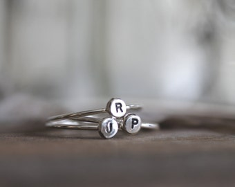 Roots Stack ||| One Ring. Monogram Initial Stack Sterling Stack Ring-