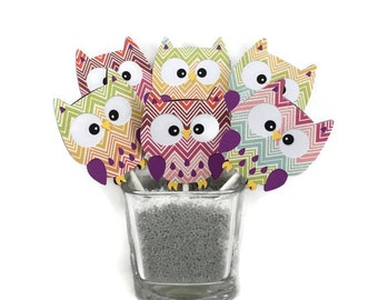 Owl cupcake toppers, chevron owl decor, birthday decorations, baby shower decorations, girl party decor, table decor, chevron birthday party