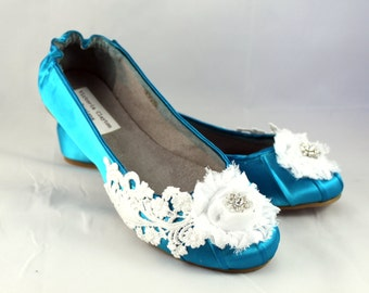 Blue Lace Wedding  Flat - Wedding Ballet Flats - The Odette