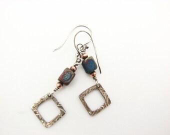 Silver Zen Earrings Raku Bead Artisan Made Mixed Metal Earrings Rustic Organic Hippie Bohemian Jewelry