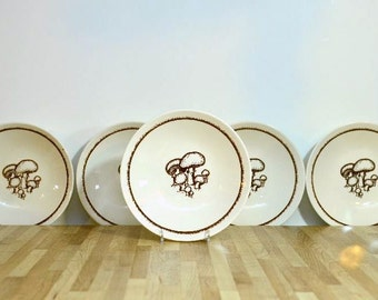Vintage Mushroom Bowls Ceramic USA Pottery Brown and White Cereal Bowls Royal China Fungus