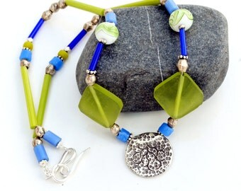 Bohemian Lime Green and Blue Necklace - Beaded Sterling Silver Necklace with Sea Glass  - Hill Tribe Silver Pendant