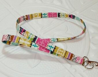 Lanyard - Fabric Lanyard - Teacher Lanyard  - Key Lanyard - Id Badge Holder - Multi Colored