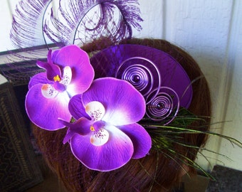 Fascinator (F615) Royal Ascot, Derby Races Hat, Wedding Hat, Silk Florals and Feathers, Satin Hat Base, Purple Colors