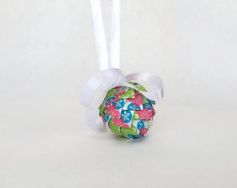 Mini Ribbon Pinecone Easter Egg Ornament White Ribbon with Pink, Blue and Green Flower Pattern