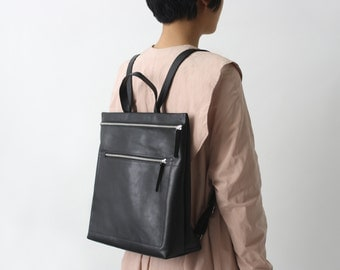 leather backpack - backpack purse - hipster backpack - brown zipperd backpack- minimal black backpack