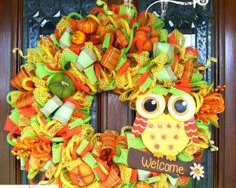 Welcome Fall Owl Wreath (READY TO SHIP)