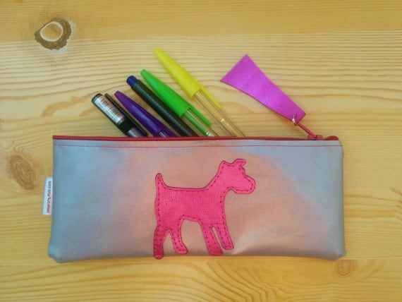 Leather pencil case,leather pencilcase,leather pouch,dog pencil case,silver pencil case,leather case,leather coin purse,dog leather,dog bag