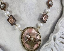 Interlude- Antique French Upcycled Necklace- Pink, Peach, Antiqued Brass- Genuine Pearls, Floral Basket,Romantic- One of a Kind