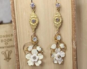 Sugar Coat It- White enamel rhinestone drop earrings- gold plated- Antique Vintage upcycled refashioned- Austrian Enamel- Delicate- Romantic