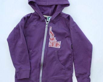 Purple Hoodie Sweatshirt.  State Appliqued Hooded Sweatshirt with State of your Choice. Child Size 2 4 or 6. Eco Friendly Organic Fair Trade
