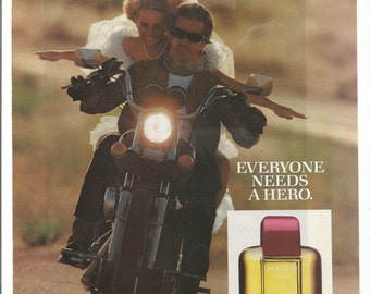 1985 Advertisement Hero By Prince Matchabelli Cologne For Men Bride Motorcycle Biker Chick Wedding White Dress 80s Wall Art Decor