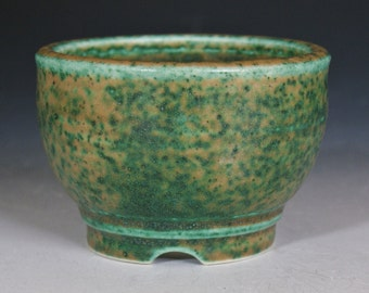 Small Porcelain Planter with Green Glaze