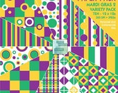 10 pack of Mardi Gras 2 - Geometric Digital Paper - INSTANT DOWNLOAD - for Invites, Scrapbooking, Cards, Collage, Journaling, Crafts, More