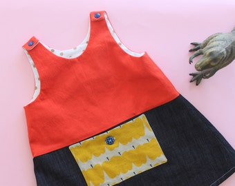 Golden apple pinnie, jumper dress for baby girl, size 18-24 months. Cotton denim combo, made in Italy. Ready to ship.