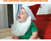 Santa Hat with Beard // Baby & Toddler size // photo prop // stretch to fit