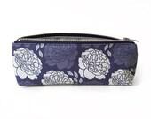Slim Pencil Case, Blue Peony Print, Floral Zipper Bag, Small Makeup Pouch, Original Fabric Design, Pretty Moody Romantic, Handbag Organizer