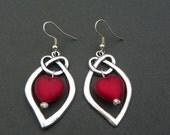 Valentine's Day Earrings Heart earrings red heart earrings silver earrings valentine's jewelry knot earrings light weight earrings