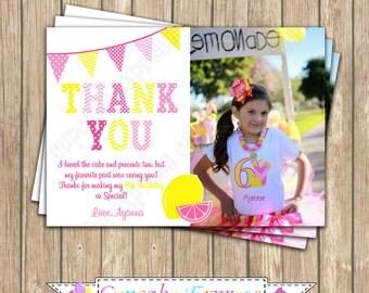 Pink Lemonade Sunshine Birthday Party  photo Thank You Card PRINTABLE  1 summer  lemons pink yellow DIY cupcake express