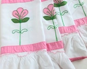 Ruffle Window Valances White with Pink and Green Applique Flowers
