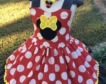Custom Made Inspired Minnie mouse Birthday outfit pageant applique Costume Dress NAME options 18M 24M 2T 3T 4 5 6 7 8 10 12