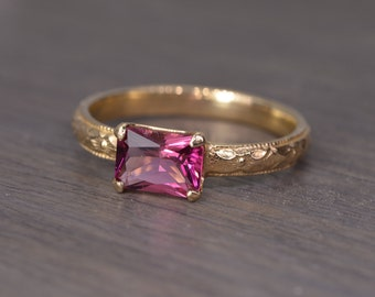 Tourmaline Ring, all sizes, emerald cut silver gold milgrain pink October Birthday - Fitz Ring