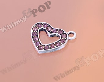 1 - Purple Love Heart Rhinestone Charm, Heart Charm, Heart Pendant, 18mm x 20mm (2-3J)