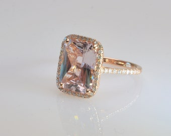 Certified,unheated 7.52 CT peach sapphire ring,Hand Made ring,,Diamond engagement ring,model-Catalin 2248