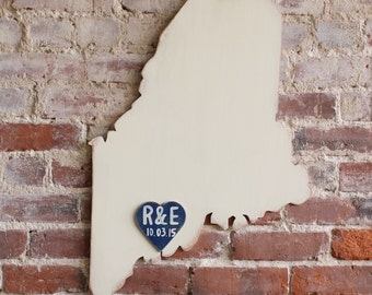 Guestbook Alternative, Wooden State Wedding Guestbook - 2 ft Maine in Distressed Ivory - any state/country available in many colors