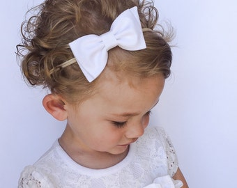 Solid White Bow - White Bow Headband - White Bow with Diagonal Tails - White Baby Bow Headband or Clip - White Fabric Bow Nylon Headband