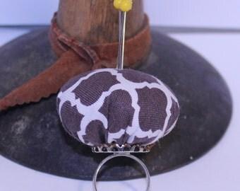 Pin Cushion Ring, Adjustable Pin Cushion Ring, Brown Pin Cushion Ring, Brown Fabric Ring
