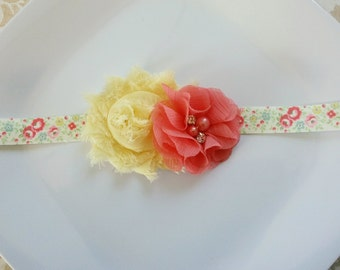 Spring Floral headband or clip- coral and yellow,  spring, newborn photo prop, baby girls, toddlers, women,