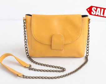ROXY Leather Crossbody Bag. Leather Chain Purse. Small Leather Bag. Small Leather Purse. Small Purse. Cross Body Bag. Yellow Shoulder Purse