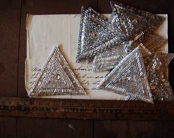 vintage triangle patches - 1950s silver beaded applique motifs - Art Deco style with lots of sparkle