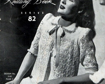 1940s Vintage Knitting Patterns Women's Intimates Lingerie Bed Jackets Underwear Sun Glo Book Series 82 Original Booklet