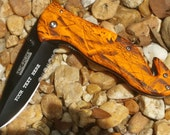 Orange Camo Rescue Knife, Engraved Pocket Knife, Personalized Wedding Grooms Men, Birthday, Anniversary Gift.