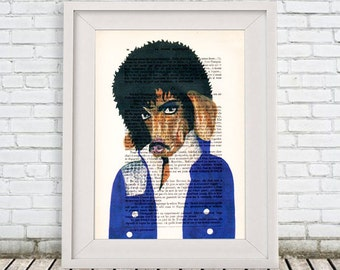 Prince Purple Rain Daschund Print Poster Illustration Acrylic Painting Animal Portrait  Decor Wall Hanging Wall Art Drawing Glicee Digital