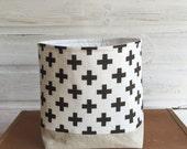 Fabric Storage Basket Dark Grey Cross