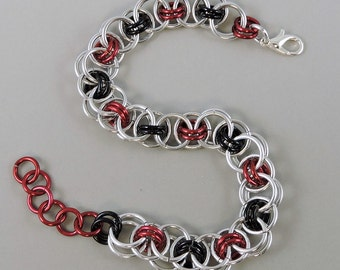 Red & Black Chainmail Bracelet, Chainmaille Bracelet, Helm Weave Chain Mail Jewelry, Helm Bracelet, Red Jewelry