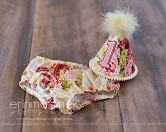 Girls First Birthday Cake Smash Outfit With Diaper Cover Party Hat in Vintage Floral on Ivory
