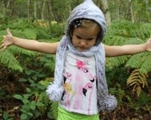 Pixie Scoodie - Hooded Scarf - Silver and White Scarf - Children's scarf - Girls Scarf -  White and Grey Scarf - Pixie Hat - Ready to ship