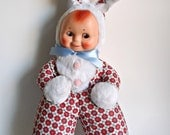 Vintage Bunny Rabbit Doll Rubber Face Allied Toys Plush Doll 1950's