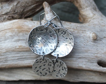 Silver Earrings: Fine Silver (.999) Double Disc Earrings -- Hammered, Textured, Domed and Distressed.