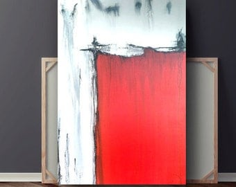 Red Abstract Painting, Red Black & White Acrylic Painting, Original Painting on Canvas, Large Canvas Art, 36x24 by Heather Day